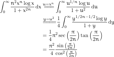 \begin{align*} \int_{0}^{\infty} \frac{ n^2 x^n \log x}{1+x^{2n}}\, {\rm d}x &\overset{u=x^n}{=\! =\! =\!} \int_{0}^{\infty} \frac{u^{1/n} \log u}{1+u^2} \, {\rm d}u \\ &\overset{y=u^2}{=\! =\! =\! =\!} \frac{1}{4}\int_{0}^{\infty} \frac{y^{1/2n -1/2} \log y}{1+y} \, {\rm d}y \\ &=\frac{1}{4}\pi^2 \sec \left ( \frac{\pi}{2n} \right ) \tan \left ( \frac{\pi}{2n} \right ) \\ &= \frac{\pi^2}{4} \frac{\sin \left ( \frac{\pi}{2n} \right )}{\cos^2 \left ( \frac{\pi}{2n} \right )} \end{align*}