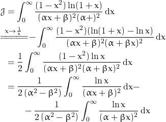 \begin{align*} \mathcal{J}&=\int_0^\infty \frac{(1-x^2)\ln(1+x)}{(\alpha x+\beta)^2(\alpha+\betax)^2} \, \mathrm{d}x \\ &\!\!\!\!\!\overset{x\to\frac{1}{x}}{=\! =\! =\! =\! =\!} -\int_0^\infty \frac{(1-x^2)(\ln(1+x)-\ln x)}{(\alpha x+\beta)^2(\alpha+\beta x)^2} \, \mathrm{d}x \\ &=\frac{1}{2} \int_0^\infty \frac{(1-x^2)\ln x}{(\alpha x+\beta)^2(\alpha+\beta x)^2} \, \mathrm{d} x\\ &=\frac{1}{2\left (\alpha^2-\beta^2 \right )}\int_0^\infty \frac{\ln x}{(\alpha x+\beta)^2} \, \mathrm{d} x- \\ &\quad \quad - \frac{1}{2\left (\alpha^2-\beta^2 \right )}\int_0^\infty \frac{\ln x}{(\alpha+\beta x)^2} \, \mathrm{d}x \end{align*}